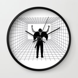 A winged man in a room Wall Clock