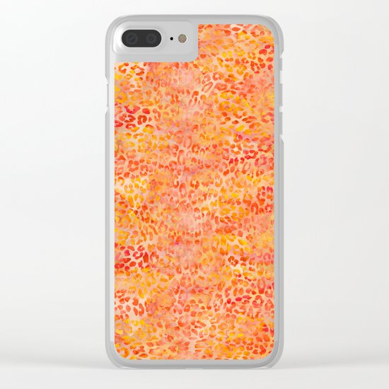 Orange Leopard Print Clear iPhone Case