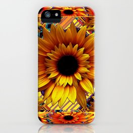 AWESOME GOLDEN SUNFLOWERS  PATTERN ART iPhone Case