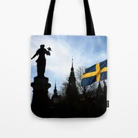 stockholm Tote Bags featuring Stockholm by Mark Hill