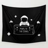 maps Wall Tapestries featuring Selling Maps to the Stars by Phil Jones