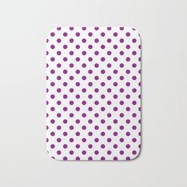 Small Polka Dots - Purple Violet on White Bath Mat