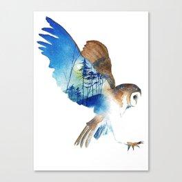 Flying night cute owl Canvas Print