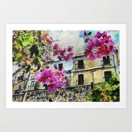 Vintage street in calabria Art Print