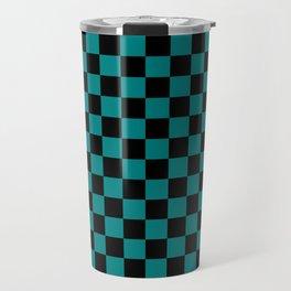Black and Teal Green Checkerboard Travel Mug
