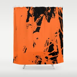 Orange Ink black Shower Curtain