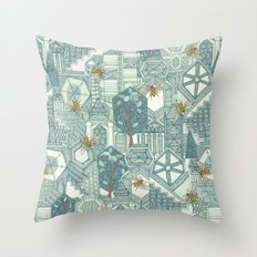 hexagon city Throw Pillow