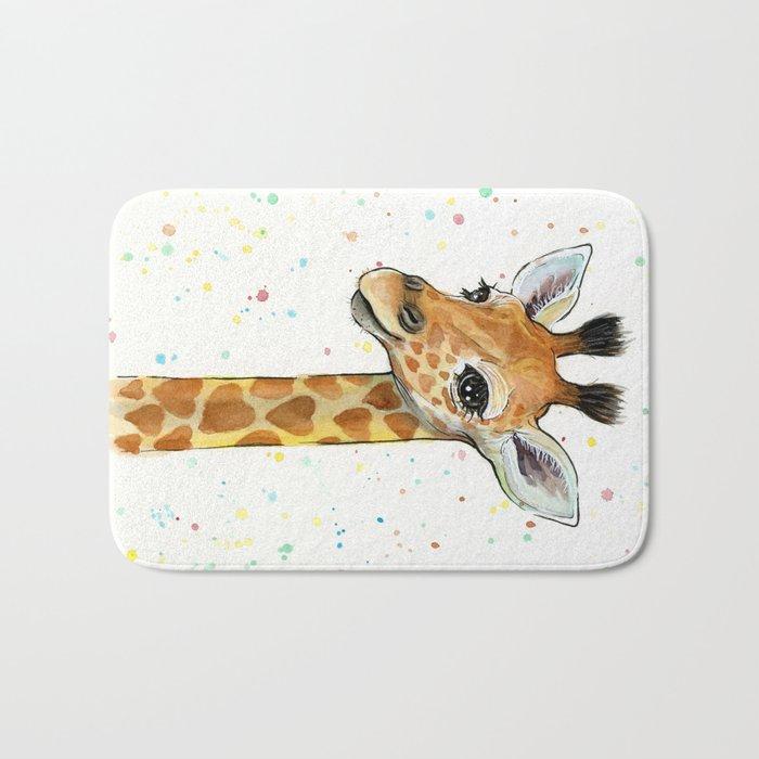 Giraffe Baby Animal with Hearts Watercolor Cute Whimsical Animals Nursery Bath Mat