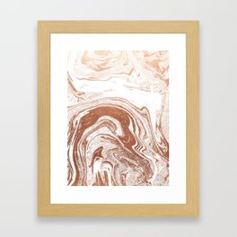 Marble copper metallic suminagashi spilled ink japanese marbling abstract ocean swirl Framed Art Print