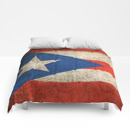 Old and Worn Distressed Vintage Flag of Puerto Rico Comforters