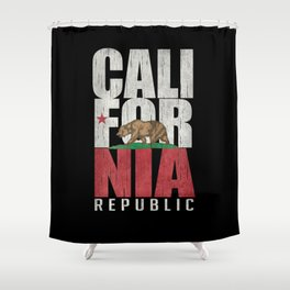 Cali Bear Flag with deep distressed textures Shower Curtain