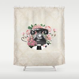 Vintage Rotary Phone Shower Curtain