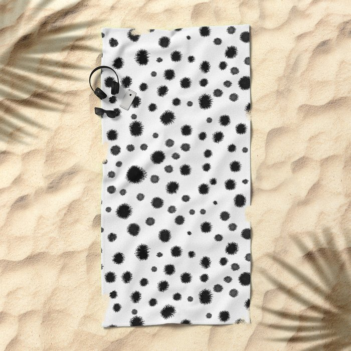 Ink drops splats splots inky texture painting abstract black and white minimal modern dorm college  Beach Towel