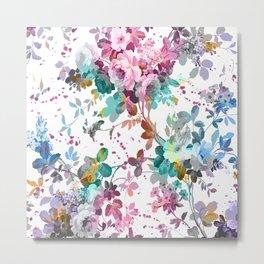 Abstract pink teal watercolor splatters floral pattern Metal Print