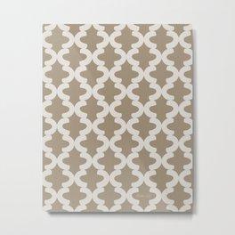 Hand-painted Quatrefoil Lattice Pattern, Beautiful Oil / Acrylic Paint Texture in Natural Brown Beige Earthy Tones Metal Print
