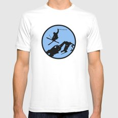skiing 3 Mens Fitted Tee SMALL White