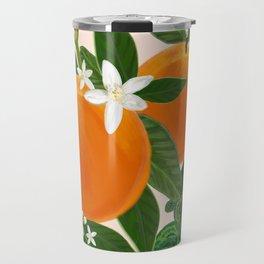 Fruits Orange and Flowers Pattern Travel Mug