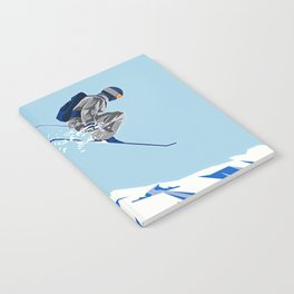Airborn Skier Flying Down the Ski Slopes Notebook