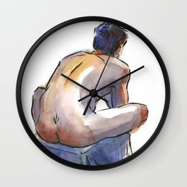 NATE, Nude Male by Frank-Joseph Wall Clock