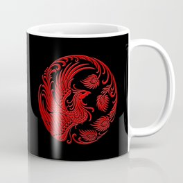 Traditional Red and Black Chinese Phoenix Circle Coffee Mug