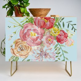 Bouquet of Watercolor on Blue Background Credenza