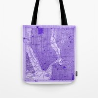 yankees Tote Bags featuring New York Vintage City Map Throw Pillow by MY  HOME