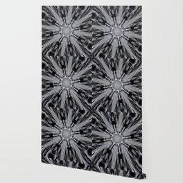 Black White Mandala Kaleidoscope - Abstract Art by Fluid Nature Wallpaper