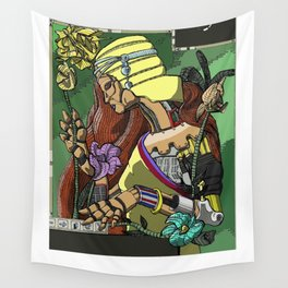 L'ermitage Steampunk Art Nouveau robot Wall Tapestry