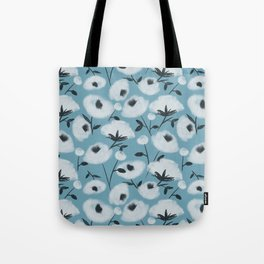 Cotton Flowers on Blue Pattern Tote Bag