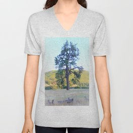 Tall Pine in the California Meadow by Reay of Light Unisex V-Neck