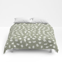 Simply Ink Splotch Lunar Gray on Green Tea Comforters