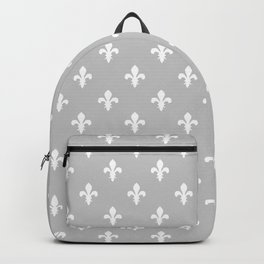 Fleur-de-Lis (White & Gray Pattern) Backpack