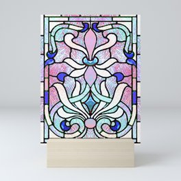 Delicate Stained-glass in Victorian Blue Detail Mini Art Print