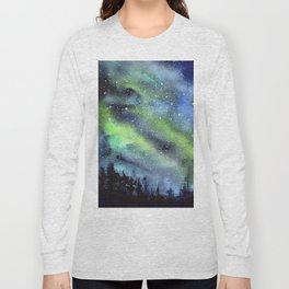 Galaxy Nebula Watercolor Northern Lights Aurora Borealis Long Sleeve T-shirt