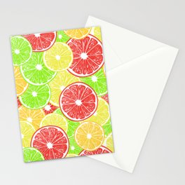 Lemon, orange, grapefruit and lime slices pattern design Stationery Cards