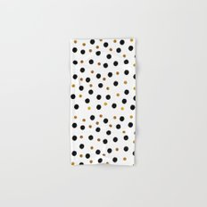 Black & Gold Glitter Confetti on white background- Elegant pattern Hand & Bath Towel
