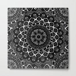 Blanc Noir Mandala Metal Print