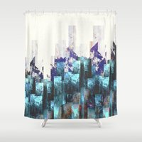 cities Shower Curtains featuring Cold cities by HappyMelvin