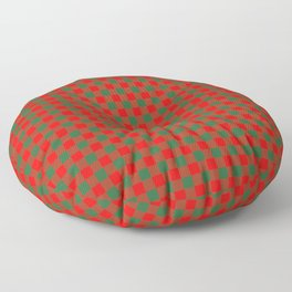 Medium Holly Red and Evergreen Green Christmas Country Cabin Buffalo Check Floor Pillow