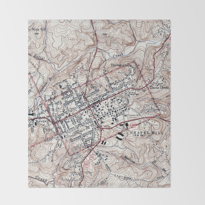 Vintage Map Of Chapel Hill North Carolina 1946 Throw Blanket By Bravuramedia