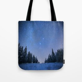 Blue Night Stars Wintry Forest Tote Bag