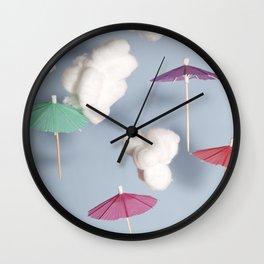 umbrella, sky and cotton cloud Wall Clock