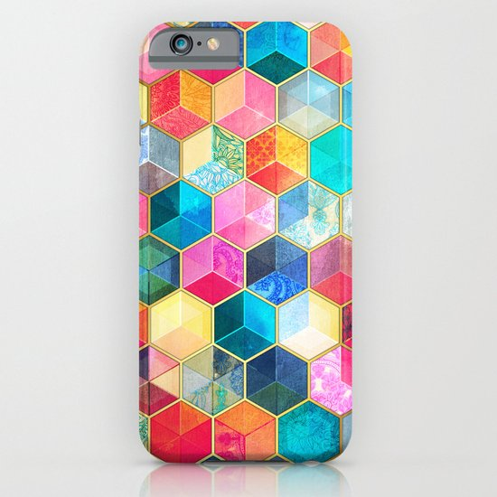 Crystal Bohemian Honeycomb Cubes - colorful hexagon pattern  iPhone & iPod Case