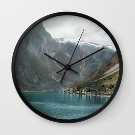 Village by the Lake & Mountains Wall Clock