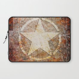 Army Star on Rusted Riveted Metal Plate Laptop Sleeve