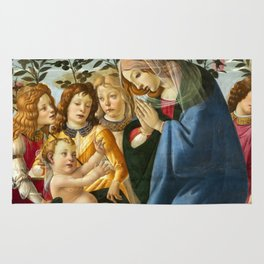 "Sandro Botticelli ""Madonna Adoring the Child with Five Angels"" Rug"