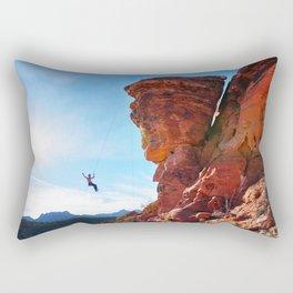 Rock Climber Swinging at Red Rock Canyon Rectangular Pillow