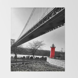 The Little Red Lighthouse - George Washington Bridge NYC Throw Blanket