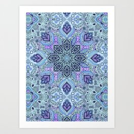 Navy Blue, Mint and Purple Boho Pattern  Art Print