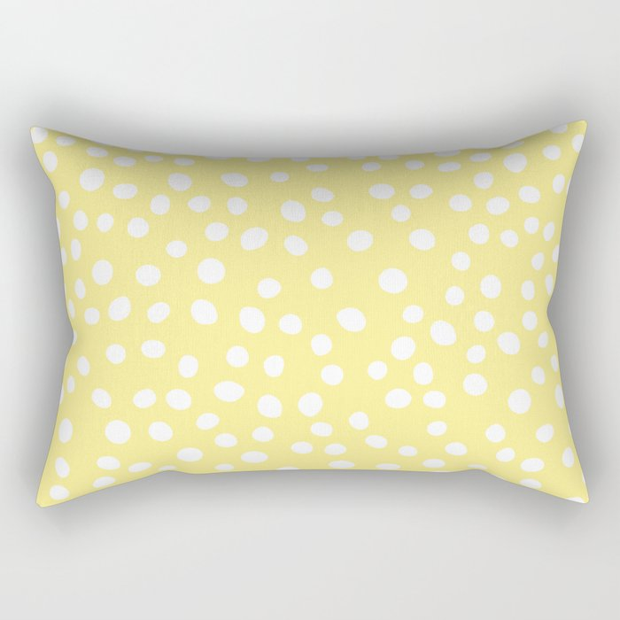 Pastel yellow and white doodle dots Rectangular Pillow